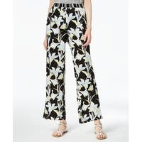 Bar III Black Womens Size XS Pull-On Wide-Leg Printed Pants Stretch