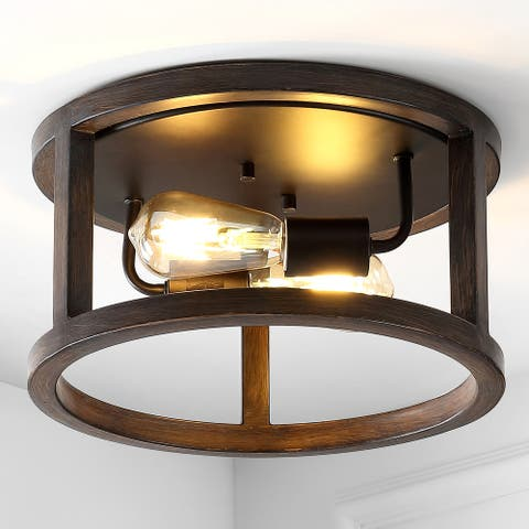 """Atelier 12.75"""" 2-Light Iron LED Flush Mount, Brown by JONATHAN Y"""