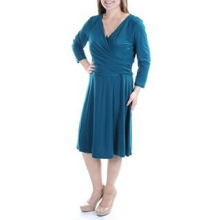 AMERICAN LIVING $69 Womens New 1200 Teal Long Sleeve Faux Wrap Dress 16 B+B