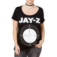 Reasonable Doubt Black Womens Size 3X Plus Graphic Print Knit Top