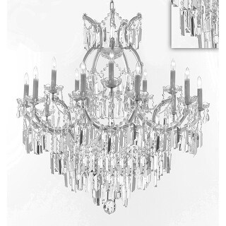 Maria Theresa Crystal Chandelier Lighting with Optical Quality Fringe Prisms - Silver