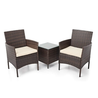 Link to Pheap Outdoor 3-piece Wicker Bistro Set by Havenside Home Similar Items in Patio Furniture