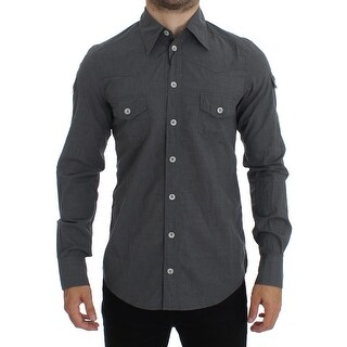 Dolce & Gabbana Dolce & Gabbana Gray Cotton SICILIA Regular Fit Casual Shirt