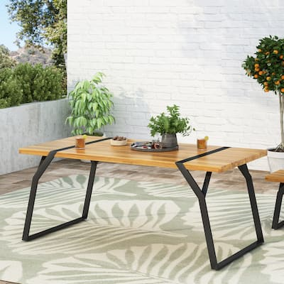Varva Outdoor Acacia Wood Outdoor Dining Table by Christopher Knight Home