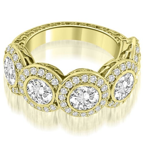 3.18 cttw. 14K Yellow Gold Antique Halo Cluster Diamond Ring
