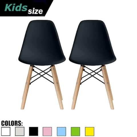 2xhome - Set of 2 black Plastic Chairs Natural Wood Kids Children