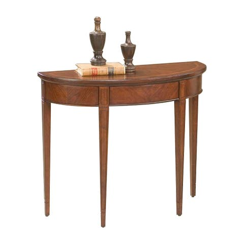 Transitional Solid Wood Demilune Console Table in Plantation Cherry Finish - Dark Brown