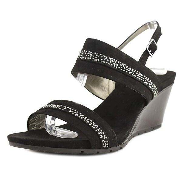 Bandolino Greedson Women Open Toe Leather Black Wedge Sandal