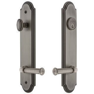 """Grandeur ARCGEO_TP_ESET_234_LH  Arc Solid Brass Tall Plate Single Cylinder Keyed Entry Set with Georgetown Lever and 2-3/4"""""""