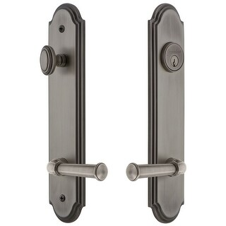 """Grandeur ARCGEO_TP_ESET_238_RH  Arc Solid Brass Tall Plate Single Cylinder Keyed Entry Set with Georgetown Lever and 2-3/8"""""""