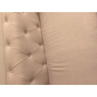 Baxton Studio Beige Linen Chesterfield Sofa