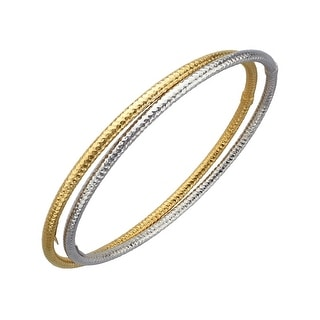 Bangle Bracelet Set in 14K Gold-Plated Sterling Silver - Two-tone