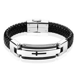 Steel Leather Bracelet with Black Cross (16 mm) - 8.75 in
