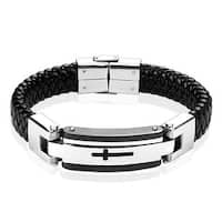Steel Leather Bracelet with Black Cross  (16 mm) - 8.75 in