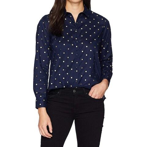 Foxcroft Blue Womens Size 20W Plus Gold-Dot Button Down Shirt