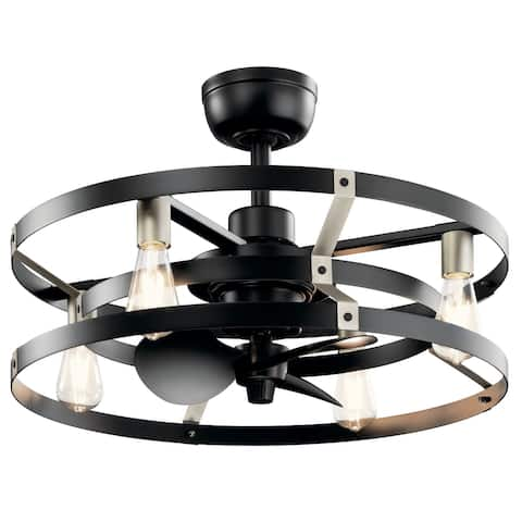 Kichler Cavelli 13 inch Fandelier in Satin Black with Brushed Nickel Accents