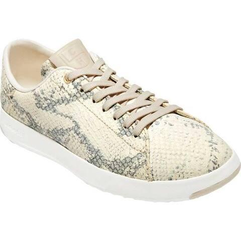 6b3e7fec12c Cole Haan Women s GrandPro Tennis Sneaker Ivory Gray Roccia Pumice Stone  Leather Optic White