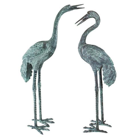 Design Toscano Large Bronze Crane: Set