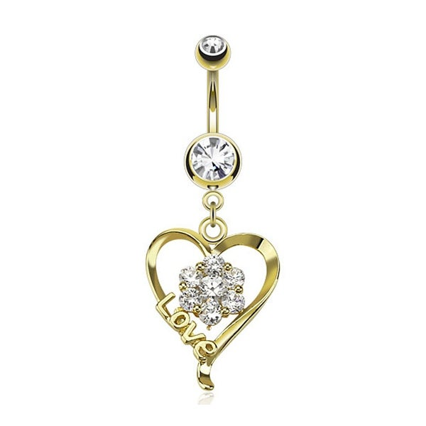 "Flower Pronged Gem Inside Heart With ""Love"" Dangle gold-plated Navel Belly Button Ring"
