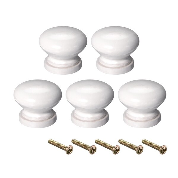 Round Pull Knob Handle 28mm Dia Cabinet Furniture Bedroom Kitchen White 5pcs