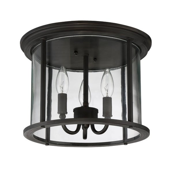 "Craftmade Z2837 Carlton 3-Light Flush Mount Ceiling Fixture - 13"" Wide"