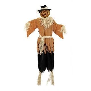 6' Lighted and Animated Creepy Jack-o'-Lantern Scarecrow Halloween Decoration