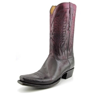 Lucchese Montgomery Men Square Toe Leather Burgundy Western Boot