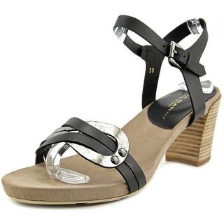Lara Manni VIT   Open-Toe Leather  Slingback Heel