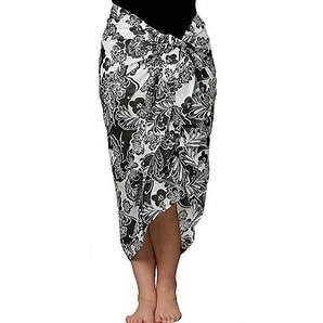 Plus Size Black and White Swimsuit Sarong in 100% Soft Cotton