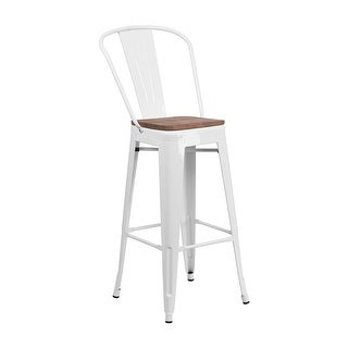"Offex 30"" High Bistro Style White Metal Barstool with Back and Wood Seat"