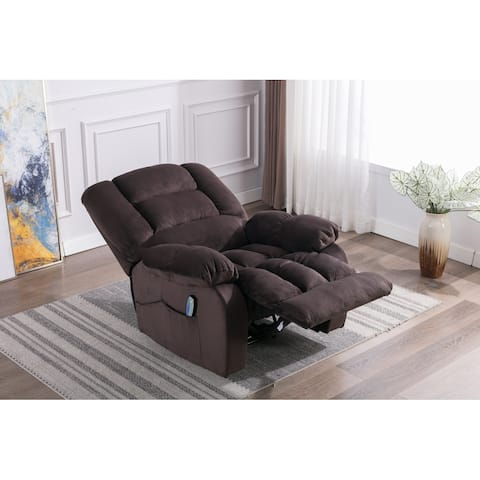 Chocolate Soft Fabric Massage Recliner Chair with Heat and Vibration