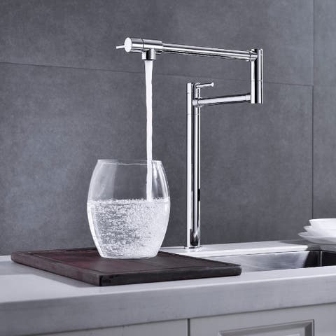 Deck Mount Pot Filler Faucet with Double Handles and One Hole