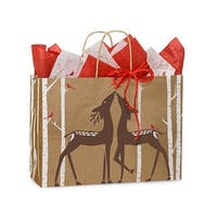 "Pack of 25, Vogue Woodland Deer Paper Bags 16 X 6 X 12"" For Christmas Packaging, 100% Recyclable, Made In Usa"