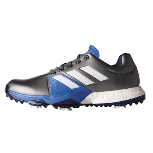 fc0c58059178c Shop Adidas Men s Adipower Boost 3 Dark Silver Metallic White B. Blue Golf  Shoes Q44758 Q44764 - Free Shipping Today - Overstock - 18847903