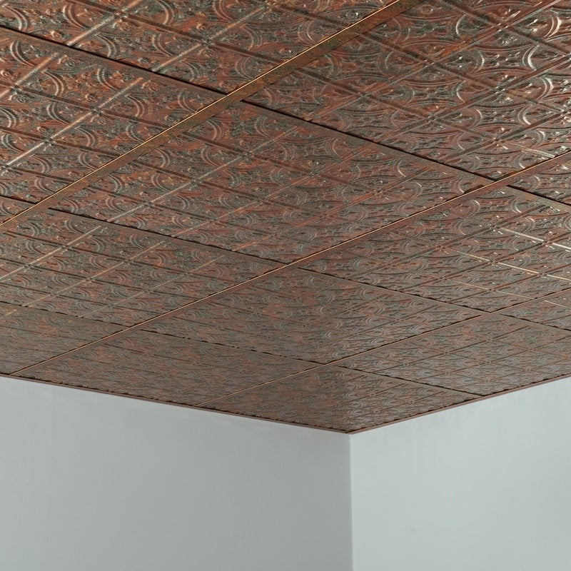 Fasade Traditional Style Pattern 1 Decorative Vinyl 2ft X 2ft Lay In Ceiling Tile In Copper Fantasy 5 Pack Overstock 32192348