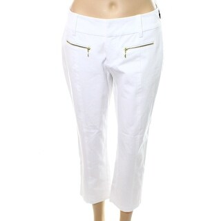 INC NEW Bright White Womens Size 16 Curvy Fit Zip-Pocket Dress Pants