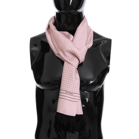 Dolce & Gabbana Pink Silk Polka Dot Men's Scarf - One Size