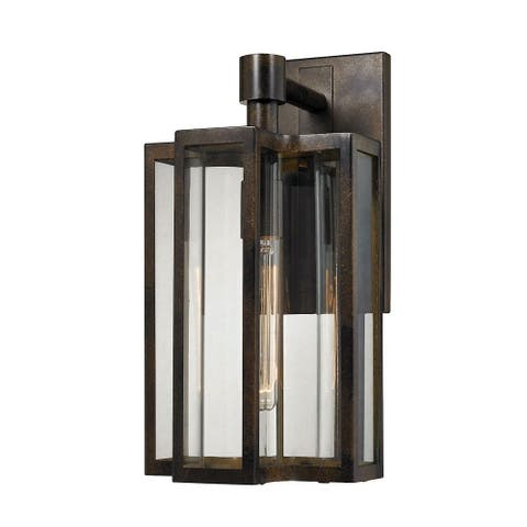 One Light Exposed Bulbs Outdoor Wall Mount with Geometric Style - Slender Lines with Curved Seeded