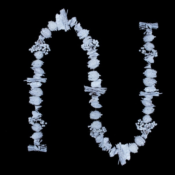 5' White Natural Dried Botanical's and Silver Glitter Artificial Christmas Garland - Unlit