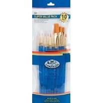 10/Pkg - Gold Taklon Super Value Pack Brush Set