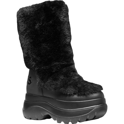 MICHAEL Michael Kors Womens Gamma Winter Boots Leather Faux Fur - Black