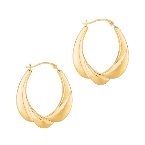 Mcs Jewelry Inc 14 KARAT YELLOW GOLD OVAL HOOP EARRINGS WITH DESIGN