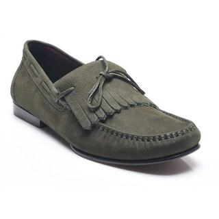 Bruno Magli Men's Leather Gabino Loafer Shoes Olive Dark Green