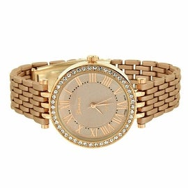 Womens Watch Geneva Classy Simulated Diamonds Bezel Stainless Steel Back Brand New On Sale