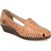 Comfortiva Womens Fairfax Leather Closed Toe Casual Platform Sandals