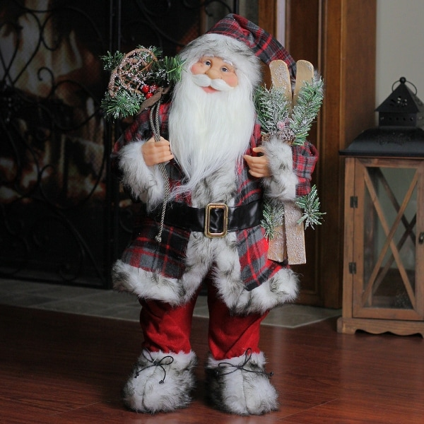 """24"""" Alpine Chic Standing Santa Claus with Frosted Pine, Snowshoes and Skis Christmas Figure - RED"""