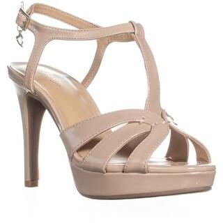TS35 Velda Buckle T Strap Sandals, Nude Patent