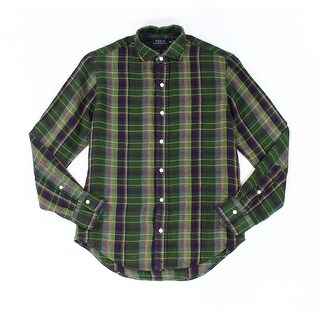 Polo Ralph Lauren NEW Green Mens Size Medium M Button Down Plaid Shirt
