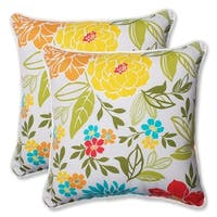 """Set of 2 Spring Bling Outdoor Patio Corded Trim Decorative Throw Pillow 18.5"""" - White"""
