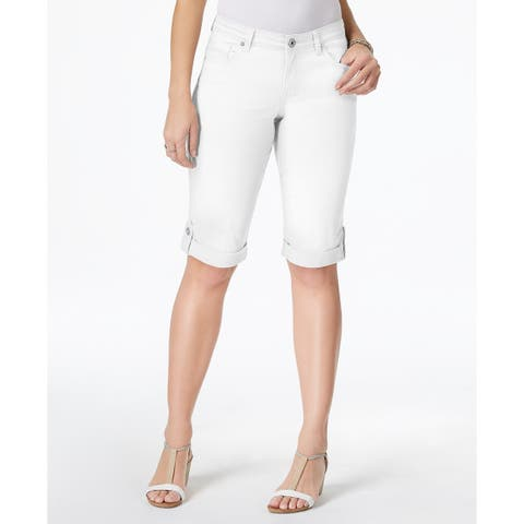 Style & Co Cuffed Denim Skimmer Shorts, White - XS